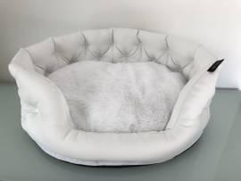 Luxury Bett Kunstleder weiß mit Mini-Strass - Bild vergrößern
