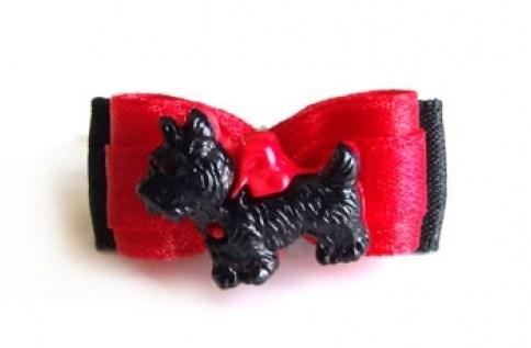 Mini-Schleife *Terrier* rot-schwarz