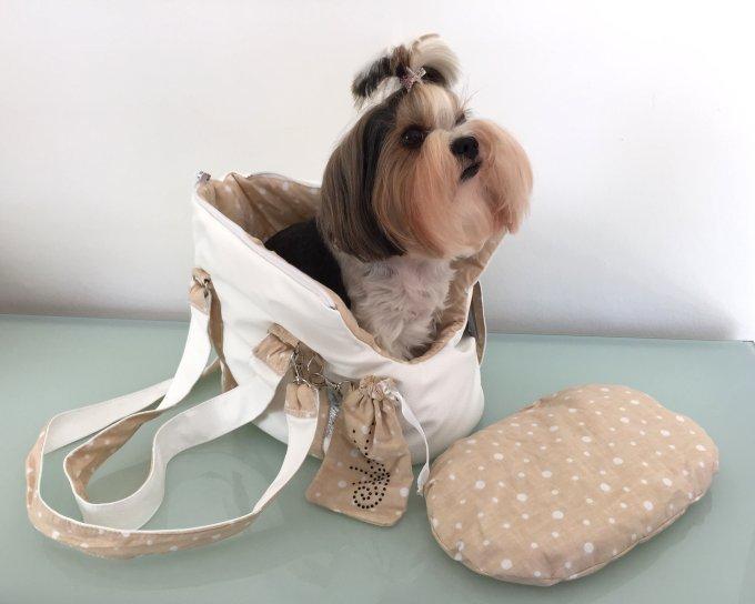 Hundetragetasche Kunstleder *Cloe* weiß-beige