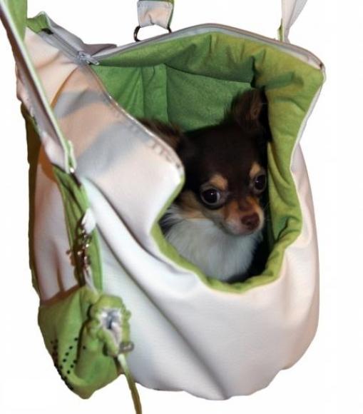 Hundetragetasche Kunstleder*Cloe* weiß-grün